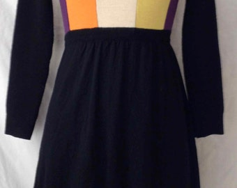 Vintage 1970s/70s Crew Neck Mod Colorblock Sweater Dress