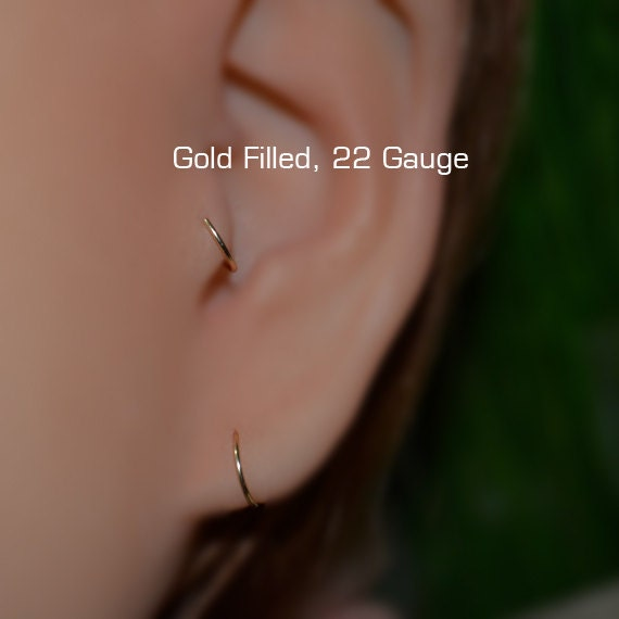 Tragus Earring 7mm - Gold Nose Ring - Rook Earring - Cartilage Hoop - Forward Helix Earring - Septum Ring - Tragus Piercing 22 gauge