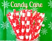 Red Mixed Paper Straws (Candy Cane - Pack of 25 Straws) **Weddings, Parties, Showers, Gifts**