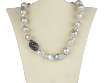 Baroque Pearl Necklace with Hematite Accents.