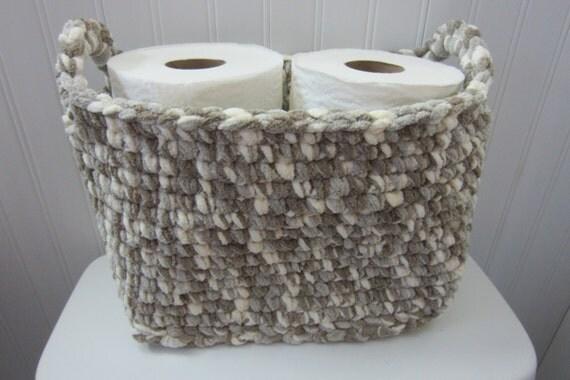 Large basket rectangle crocheted storage bin toilet tank - Panier papier toilette ...