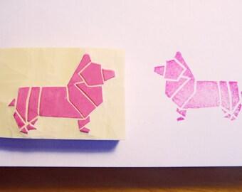 Corgi dog hand carved rubber stamp