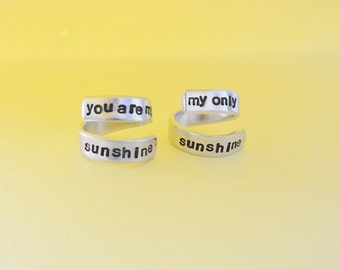 You Are My Sunshine My Only Sunshine Hand Stamped Aluminum Spiral Twist Wrap Ring Best Friends Friends Forever Mother Daughter Loved One