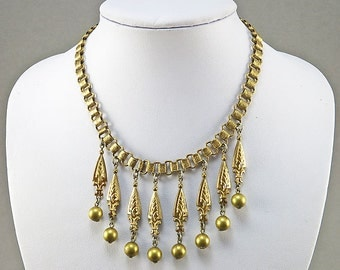Antique Necklace Gilt Metal Statement Necklace Antique Jewelry 1920s Jewelry Victorian Revival Jewelry Antique Collectibles Vintage Jewelry