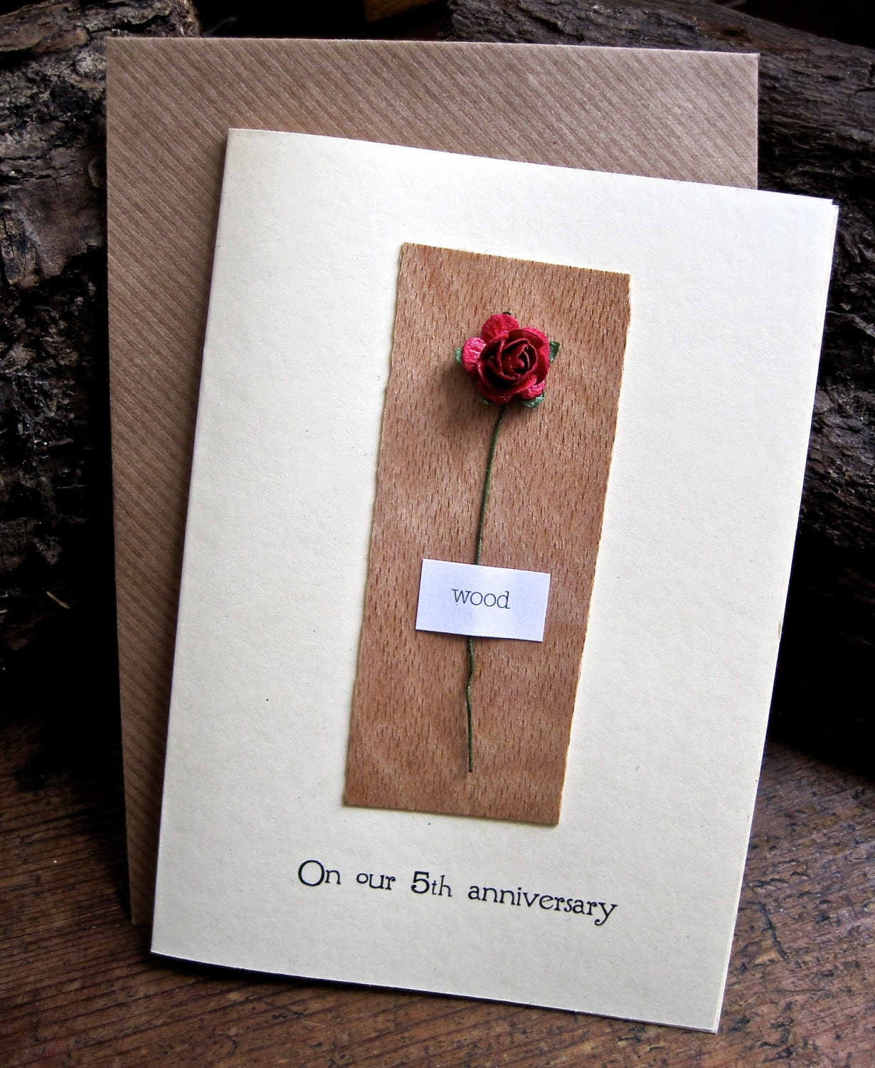 5th Wedding Anniversary Card WOOD Traditional Gift For 5