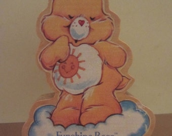 Care Bear Funshine Bear Wood Figurine Collectible American Greeting Corp 1984