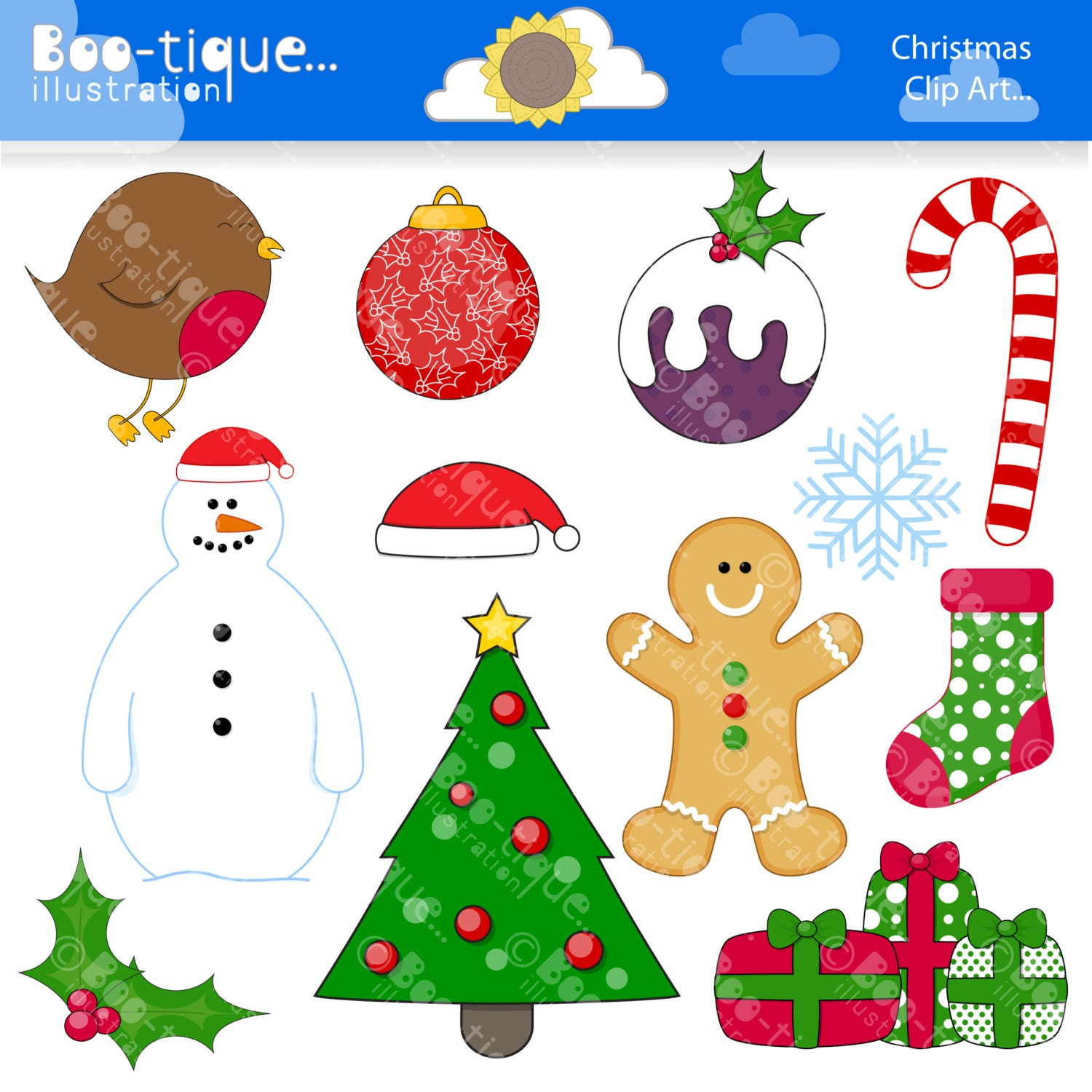 Scrapbooking Christmas Clipart | Boo-tique Illustration Clipart | Page 2