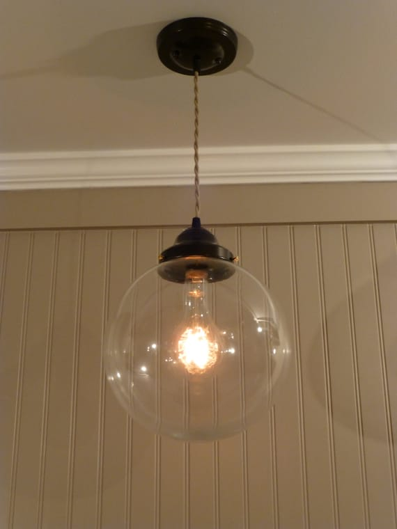 Oil Rubbed Bronze Finish Pendant Light with Large 10 inch Clear Glass Globe