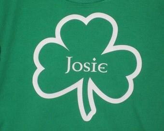 St. Patrick's Day personalized name Irish shamrock tee