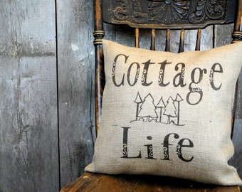 A warm Country Cottage pillow cover just for you! Country decor, Cottage Chic decor, Cottage Life pillow cover, Personalized pillow.
