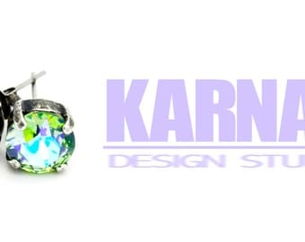 PERIDOT GLACIER 8mm Crystal Chaton Stud Earrings Swarovski Elements *Pick Your Metal *Karnas Design Studio *Free Shipping*