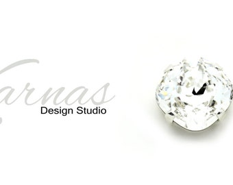 CRYSTAL CLEAR 12mm Stud or Drop Earrings Made With Swarovski Crystal *Pick Your Metal *Karnas Design Studio *Free Shipping*