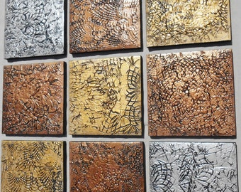 Textured Wood Wall Art - Abstract Multi Panel Paintings - Large Abstract Painting - Modern Fine Art Metallic Painting Gold Copper Silver