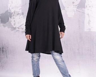 Plus size tunic/ loose tunic / maternity top / tunic dress / long sleeved top / black tunic/ black top - UM-F002-FL