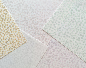 Beautiful Japanese Screen Print Flower Origami Paper Set B - 20 Sheets of Chiyogami - Made in Japan Washi