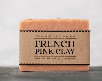 French Pink Clay Soap | Unscented Vegan Soap