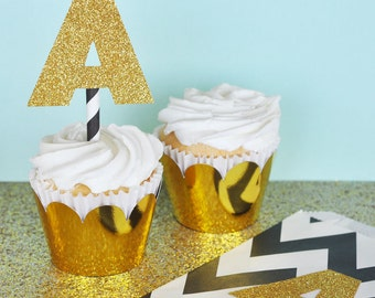 Gold Glitter Monogram Cupcake Toppers DIY - Gold Glitter Wedding Decorations - Gold Glitter Letter Stickers (EB3036) set of 24 stickers