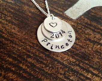 Princeton Hand Stamped Necklace Princeton University Graduation Necklace College Necklace Handstamped College Necklace Gift for Graduate