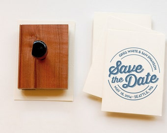 Round Custom Save the Date Stamp •  Personalized Rubber Stamp • Wooden Handle • Circle Wedding Stamp • Made to Order