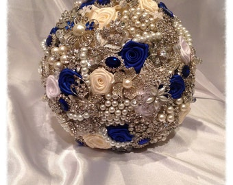 Blue Wedding Brooch Bouquet. Deposit on made to order Heirloom Bridal Broach Bouquet.