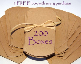 200 pillow boxes, Kraft pillow boxes, wedding favor boxes, jewelry boxes, packaging