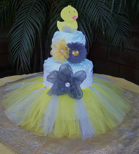 Items similar to tutu diaper cake kit yellow grey duck
