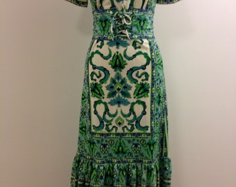 Late 1960's Mr Dino floral print maxi dress in greens and blues on an off white background, original belt included- size 8