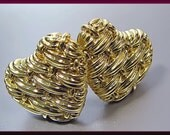 Vintage Tiffany and Company Designer 18K Yellow Gold Heart Shaped Earrings