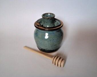 Blue Stoneware Honey Pot
