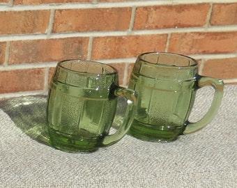 Green Glass Barrel Mugs Set of 5