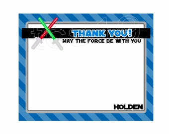 PRINTABLE Thank You Note Cards - Galaxy Warriors - Star Wars Inspired - Personalized