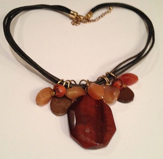 Fall colors gemstone and black leather 3-string necklace