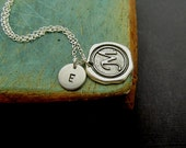 Personalized Initial Necklace, Wax Seal Initial Necklace, Monogram Initial Necklace, Unisex Necklace, Men's Necklace, Sterling Silver chain