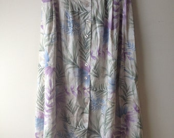 80s / 90s Linen Tropical Print Button Front Midi Skirt / Printed Maxi Skirt / Circle Skirt / Size M/L