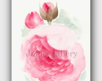 Rose painting,4x6 in WATERCOLOR FLOWER painting, Floral painting, Original art painting on paper