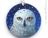 Snowy Owl Pendant   Hand Painted Jewels