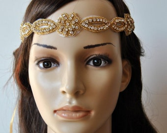 Rhinestone Headband, Wedding Headband, Crystal Headband, Wedding beaded Headband, Halo Bridal Headpiece, 1920s Flapper headband, in Gold