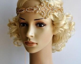 Gold Gatsby Headband 1920s Flapper Headpiece,Rhinestone beaded headpiece, Great Gatsby Headband, wedding rhinestone bridal headband
