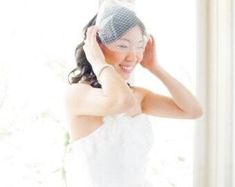 Double layer bandeau birdcage veil - Bandeau Veil, Birdcage Veil, Wedding Veil, Bridal Veil, Russian Veil Tulle Veil, Bird Cage Veil