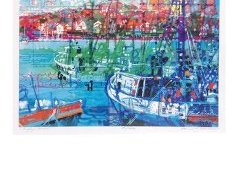 "Nova Scotia- Fishing Boats in a Harbor, Fishing Village,New England, Canada,  Color Print of Original Painting  ""Digby, Nova Scotia ""No. 20"