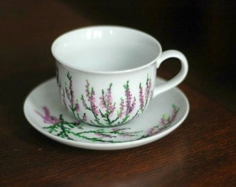 Hand-painted heather coffee cup