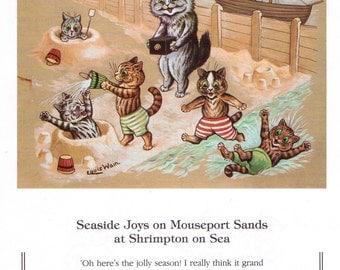 Louis Wain Cat Print Art - Seaside Fun!