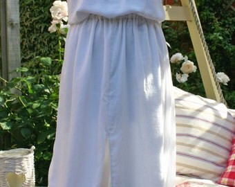 White Maxi Dress With Vintage Sari Detailing