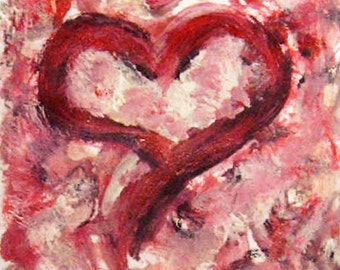 Heart Painting, Valentine Day Gift, Birthday Gift, Gift Idea, Small Painting, Gift for her, Gift for Mom, Anniversary gift, Romantic Gift