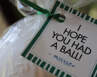 ... Party Favor Tags- Sports Theme Favor Tags- I Hope you Had a Ball Favor