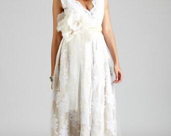 Dani Lace V Neck Gown