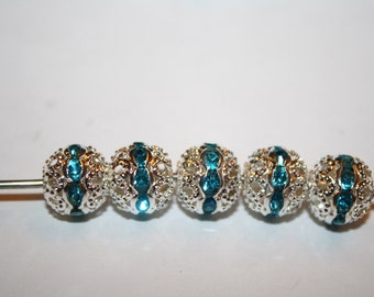 Bead Spacer Silver Tone With Light Blue Rhinestone - 10mm - 10ct - #162