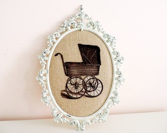 Oval Metal Frame Shabby Chic Burlap Upcycled with Vintage Stroller