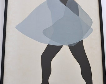 Vintage Silkscreened Dancer Framed Art