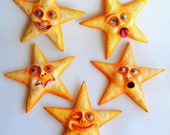 Upset Star - Paperclay - Handmade / Handpainted / Contemporany / Art / Acrylic Paint / Modern / Gift / Wall Decor / Funny